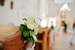 Flowers of decor at wedding church ceremony.  Stock Photo