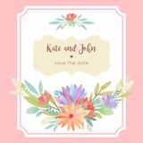 Watercolor floral wedding invitation card template with frame an Royalty Free Stock Photo