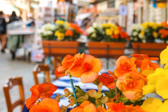 Flowers decorate the outdoor cafe on the market in Venice. Italy royalty free stock photo