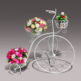 Flowers decorate on tricycle model with clipping path Stock Images