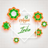 Flowers decorated frame for 15 August. Paper cut style tricolor flowers decorated frame for 15 August, Indian Independence day celebration concept vector illustration
