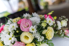 Flowers decorated on the wedding table. Royalty Free Stock Photos