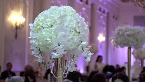 Flowers decoration at the party stock footage