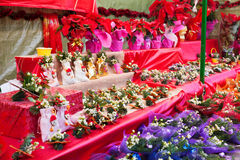 Flowers and decorations at the Christmas market Royalty Free Stock Photo