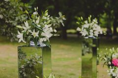 Flowers decorations for a wedding ceremony Royalty Free Stock Photo