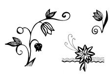 Flowers. Black and white decorative abstract illustration of flowers Royalty Free Stock Photo