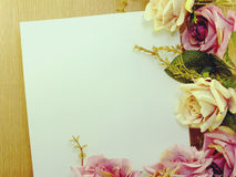 Flowers on decorative background space and composition made with vintage filter color Stock Photos