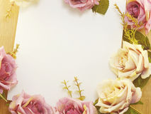 Flowers on decorative background space and composition made with vintage filter color Stock Photography