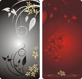 Flowers. Decorative backgrounds for two card. Vector illustration Stock Photos