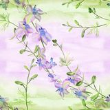 Flowers  -  decorative composition. Watercolor. Seamless pattern. Use printed materials, signs, items, websites, maps, posters, po Stock Photo