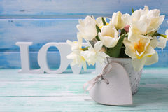 Flowers and decorative heart Royalty Free Stock Images