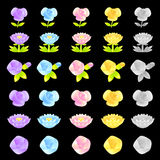 Flowers decorative Icons sets. Creative Icon Design Series. Stock Photo