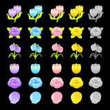 Flowers decorative Icons sets. Creative Icon Design Series. Stock Images