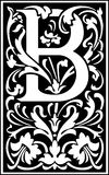 Flowers decorative letter B Balck and White Royalty Free Stock Image
