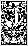Flowers decorative letter J Balck and White Royalty Free Stock Photography