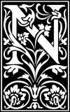 Flowers decorative letter N Balck and White Stock Images