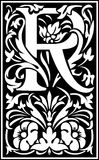 Flowers decorative letter R Balck and White Royalty Free Stock Image