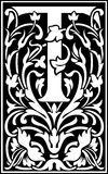 Flowers decorative letter T Balck and White Royalty Free Stock Images
