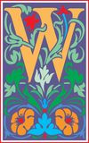 Flowers decorative letter W in Color Stock Image