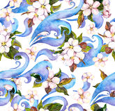 Flowers and decorative ornament. Watercolour seamless pattern Stock Photos