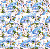 Flowers and decorative ornament. Watercolour seamless pattern Royalty Free Stock Photo