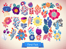Flowers decorative set of illustration. doodle plants Royalty Free Stock Images