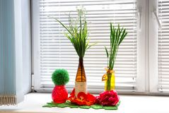 Flowers in decorative vases Stock Photography