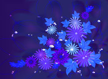 Flowers on deep blue background with dew and stars. EPS10 vector illustration Royalty Free Stock Photography