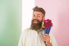 Flowers delivery concept. Man with beard cheerful face holds bouquet fresh flowers. Hipster with beard ready holiday royalty free stock image