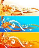 Flowers Design. Abstract Flowers Design In Blue And Orange Stock Photography