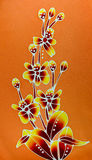 Flowers Design on batik. Royalty Free Stock Photo