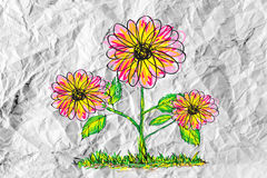 Flowers design on crumpled paper Royalty Free Stock Photography