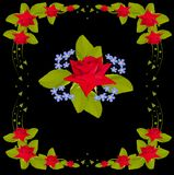 Flowers design in red rose frame Stock Photo