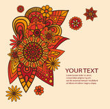 Flowers Design Vector Element with Text Place. Hand drawn vector abstract floral elements Stock Image