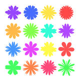 flowers of different silhouettes set on white background isolated Stock Photo