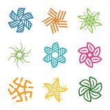 Flowers of different types logo signs set royalty free stock photo