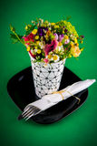 Flowers and dinner table Royalty Free Stock Images
