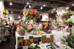 Flowers on display at HOMI, home international show in Milan, Italy. MILAN, ITALY - JANUARY 20: Flowers on display at HOMI, home international show and point of stock images