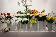 Flowers on display at HOMI, home international show in Milan, Italy. MILAN, ITALY - JANUARY 20: Flowers on display at HOMI, home international show and point of royalty free stock photo