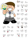 Flowers doctor cartoon expresion set Stock Image