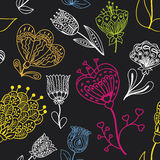 Flowers doodle seamless pattern. Vector illustration. Flowers doodle seamless pattern on a black background. Vector illustration royalty free illustration
