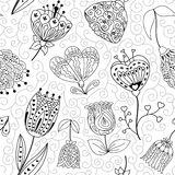 Flowers doodle seamless pattern. Vector illustration. Flowers doodle seamless pattern. Black and white vector illustration royalty free illustration