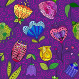 Flowers doodle seamless pattern. Vector illustration. Flowers doodle seamless pattern on a violet background. Vector illustration royalty free illustration