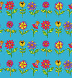 Flowers doodle seamless vector pattern Royalty Free Stock Images
