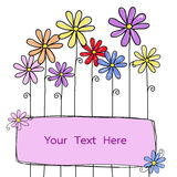 Flowers doodle with square for your text  Royalty Free Stock Photography