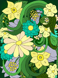 Flowers doodle vector illustration. Beautiful Stock Image