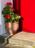 Flower Pot and Welcome Mat on Doorstep  Stock Image