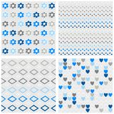 Flowers dots diamonds and hearts blue seamless pattern set. Set of white gray blue vector seamless patterns with flowers dots diamonds and hearts on light royalty free illustration