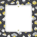 Flowers on dotted dark greeting card with retro frame Stock Photos