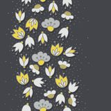 Flowers on dotted dark seamless vertical border Royalty Free Stock Image